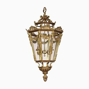 Large Brass Octagonal Cut-Glass 4-Light Lantern, 1900s