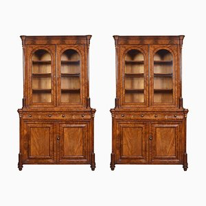 Antique Mahogany Library Bookcases, Set of 2