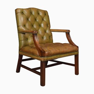 Georgian Style Leather Gainsborough Library Chair