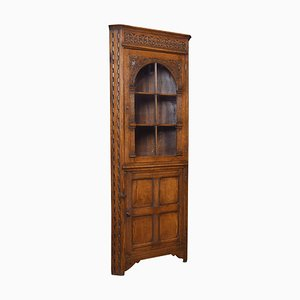 Carved Oak Corner Display Cabinet, 1920s