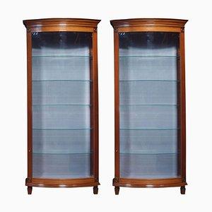 Mahogany Bow Fronted Display Cabinets, 1980s, Set of 2