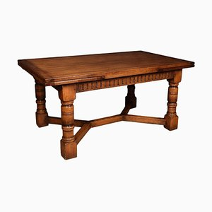 Large Oak Draw Leaf Refectory Table, 1920s