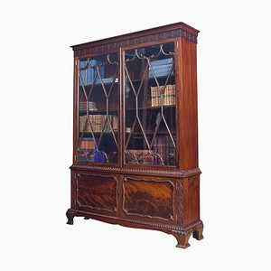 Antique Chippendale Revival Mahogany Bookcase