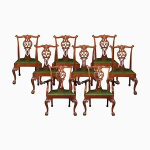 Antike Esszimmerstühle im Chippendale Stil, 8er Set
