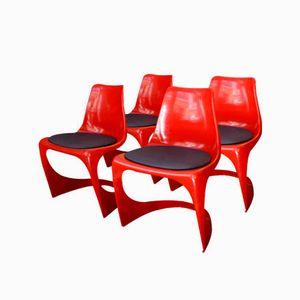 Chaises Luge Modèle 290 Rouge par Steen Ostergaard pour Cado, 1966, Set de 4