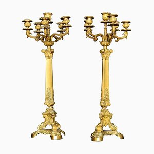 Antique Gilt Metal 5-Branch Candelabras, Set of 2