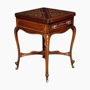 Umgeschlagener Kartentisch aus Mahagoni mit Intarsien aus 19. Jh