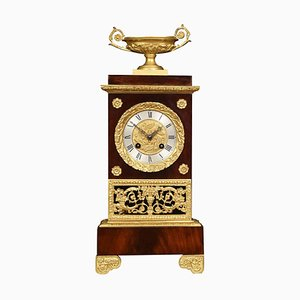 Antique French Empire Style Gilt Metal Mounted Mahogany Mantel Clock