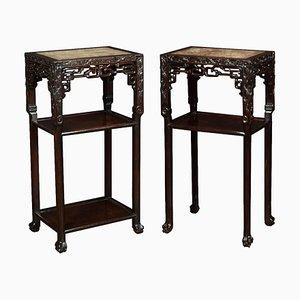 Antike chinesische Tische aus Palisander & Marmor, 2er Set