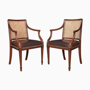 Antique Mahogany Office Armchairs in the Style of Hepplewhite, Set of 2