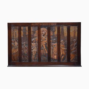 Large Walnut Framed All the World's a Stage Wall Plaque