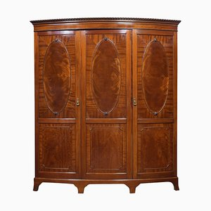 Antique Mahogany Bow Fronted 3-Door Compactum Wardrobe