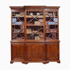 Antique Mahogany 3-Door Breakfront Library Bookcase