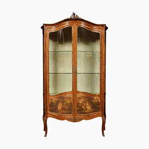 Antique French Mahogany Vernis Martin Vitrine