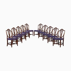 Antique Mahogany Shield Back Dining Chairs, Set of 10
