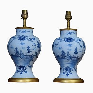 Delft Blue Porcelain Table Lamps, 1900s, Set of 2