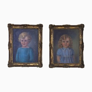 English School Oils on Canvas, 1930s, Set of 2