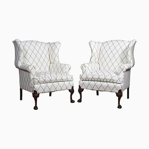 Large Georgian Style Wing Armchairs, 1900s, Set of 2
