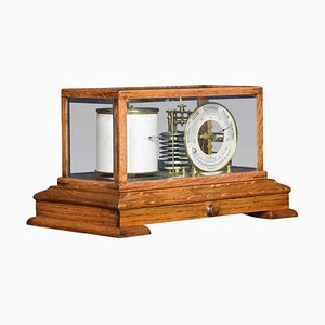 Antique Oak Cased Barograph and Barometer