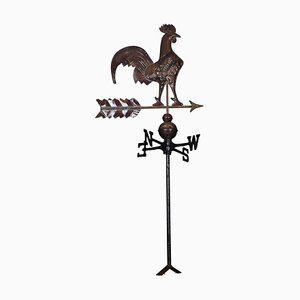 19th Century French Patinated Tole Rooster Weather Vane with the Cardinal Points