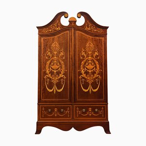 Late-19th Century Mahogany 2-Door Inlaid Wardrobe