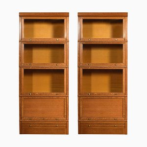 Large Oak 4-Sectional Bookcases, 1920s, Set of 2