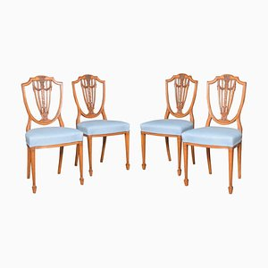 Georgian Revival Satinwood Side Chairs, Set of 4