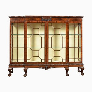 Antique Chippendale Revival Mahogany Breakfront Cabinet