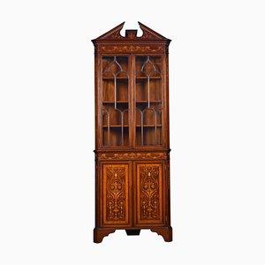 Antique Mahogany Inlaid Corner Cabinet