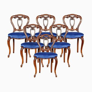 Victorian Walnut Dining Room Chairs, Set of 6