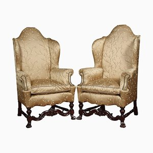 Antique High Back Wing Armchairs, Set of 2