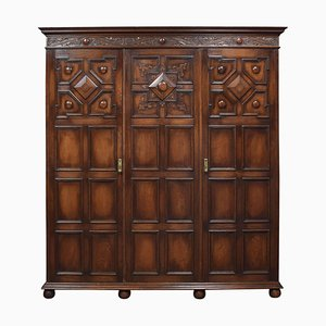 Jacobean Style Carved Oak 3-Door Wardrobe, 1920s