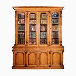 Librería antigua grande de roble con 4 puertas