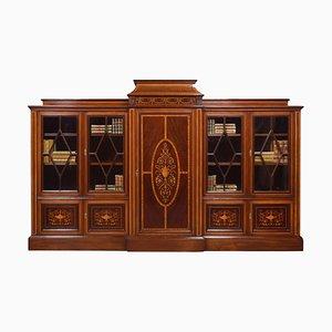 Antique Sheraton Revival Mahogany Inlaid Breakfront Bookcase