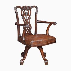 Antique Chippendale Mahogany Revolving Desk Chair