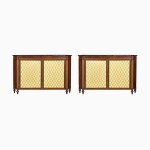 Regency Style Mahogany 2-Door Cabinets, 1920s, Set of 2
