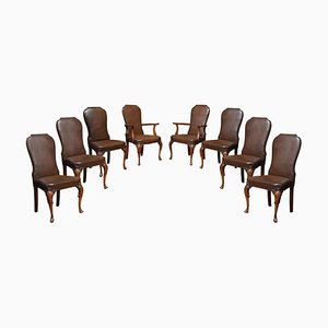 Brown & Leather High Back Dining Chairs, 1920s, Set of 8