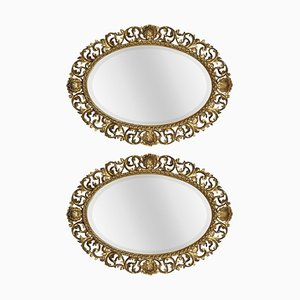Antique Oval Florentine Gilt Wall Mirrors, Set of 2