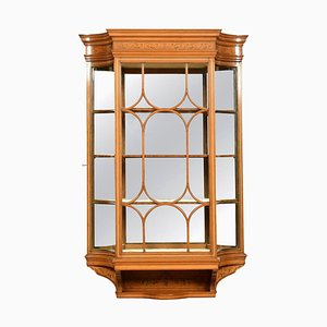 Large Edwardian Painted Satinwood Wall Hanging Display Cabinet