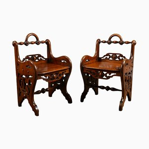 Victorian Mahogany Hall Chairs in the Style of Richard Bridgens, Set of 2