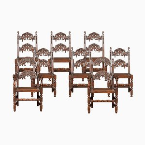 Antique Yorkshire Oak Dining Chairs, Set of 8