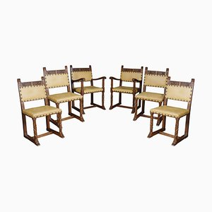 Substantial Oak Dining Chairs, 1920s, Set of 6