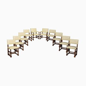 Antique Substantial Oak Dining Chairs, Set of 10