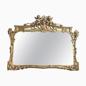 Large Antique Gilt Overmantle Mirror