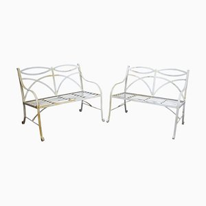 Regency Style White Painted Metal Garden Benches, 1930s, Set of 2
