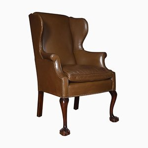 Georgian Style Leather Wingback Armchair, 1920s