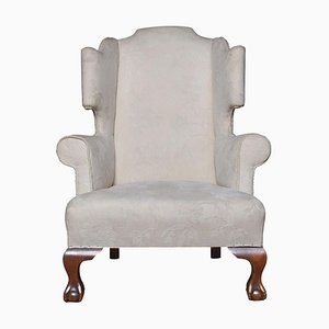 Large Upholstered Wingback Armchair, 1920s