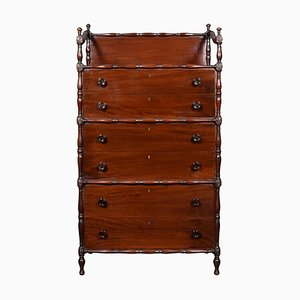 Faux Bamboo & Mahogany Chest of Drawers, 1920s