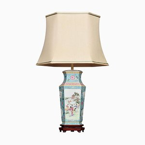 Antike Famille Rose Canton Porzellanvase Lampe