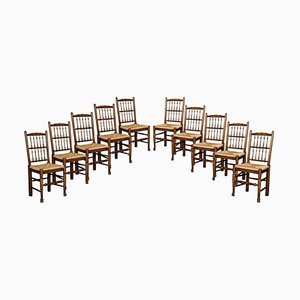 Lancashire Spindle Back Dining Chairs, 1920s, Set of 10